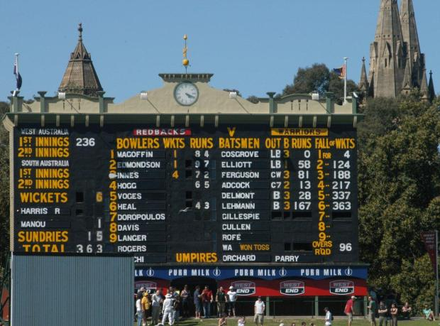Adelaide Oval scoreboard - Lehmann's final first class innings