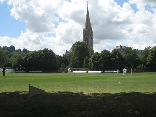 Bath cricket ground and church spire