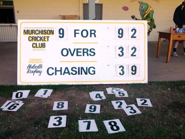 Murchison cricket scoreboard