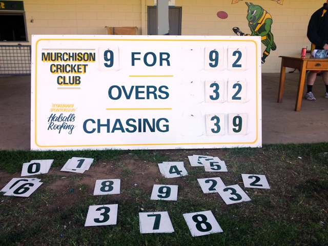 Murchison cricket scoreboard