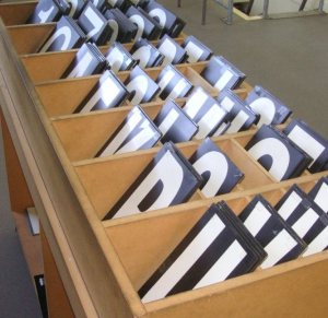 Box of letters and numbers
