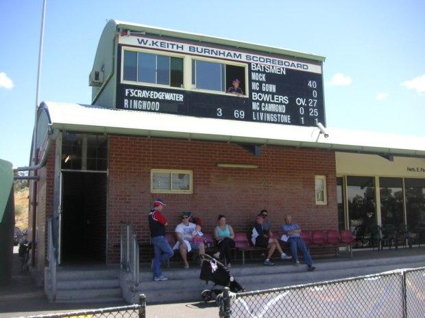 Main scoreboard at Merv Hughes Oval