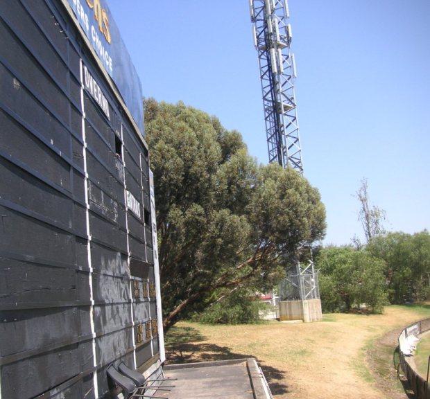 Side-view of old scoreboard