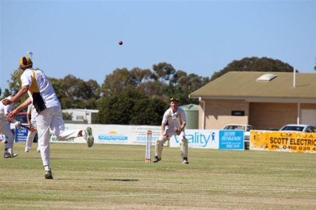 Cricket action at Berri