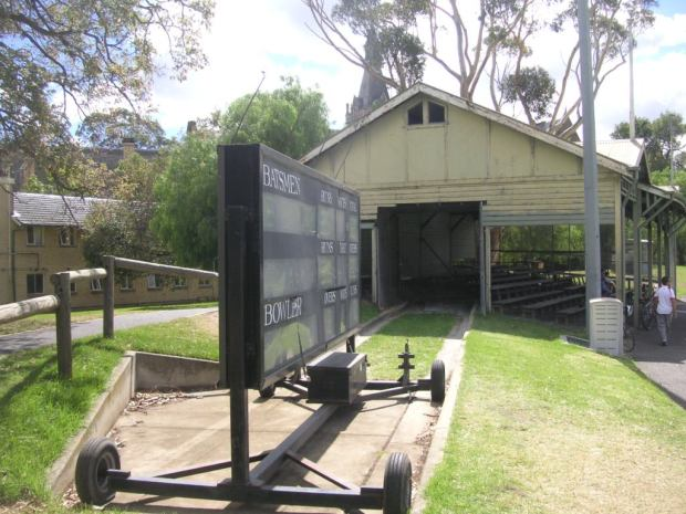 Scoreboard and shed