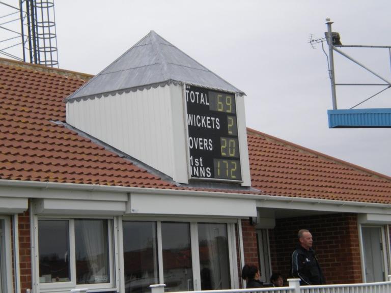 Pavilion scoreboard at Whitby