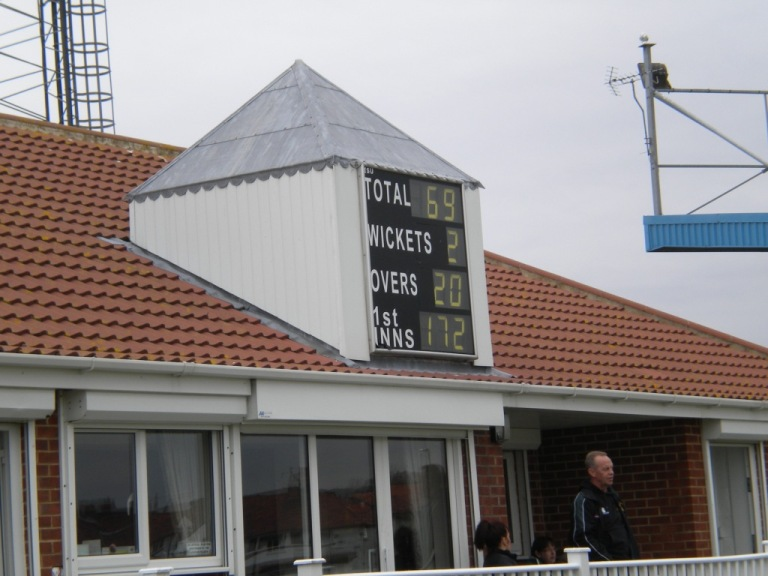 Pavilion scoreboard at Whitby