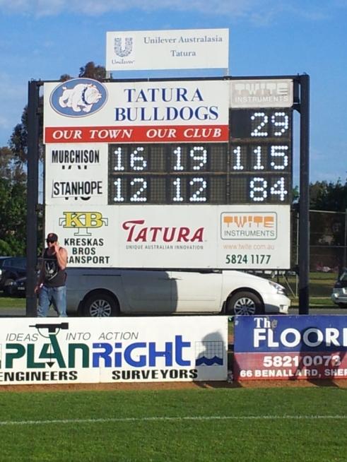 Tatura Oval scoreboard