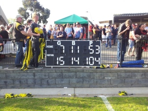 Almost siren time in the GVFL Seniors Grand Final. Each team scored one more point.