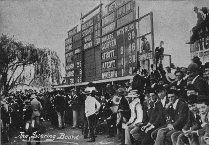 The MCG scoreboard 1895. Image courtesy fo the Melbourne Cricket Club Library
