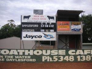Daylesford scoreboard
