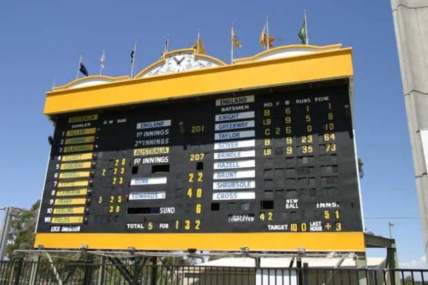 Pristine WACA scoreboard.