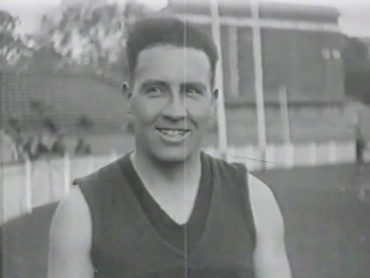 Melbourne's Bert White at training in 1929. Possibly at the MCG.