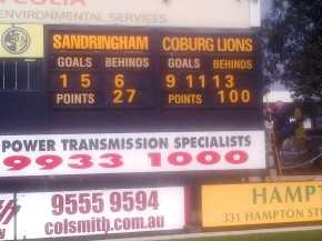 Victoria (Sandringham) versus Irelanbd (Coburg Lions). International Rules practice match.