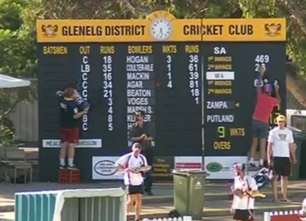 It's busy at the scoreboard prior to WA's short second innings.