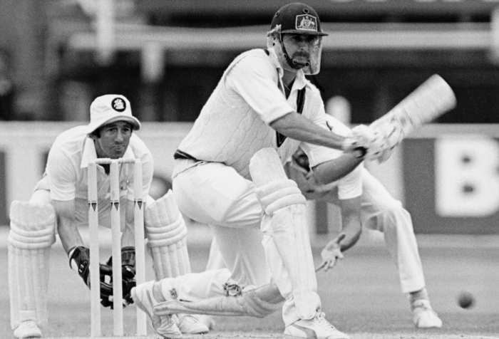 Australia batsman Graham Yallop sweeps a ball from John Emburey of England (not in picture) during his innings of 30 runs while England wicketkeeper Bob Taylor looks on (left) during the 4th Test match between England and Australia at Edgbaston, Birmingham on 2nd August 1981.  England won by 29 runs.  (Photo by Bob Thomas/Getty Images)