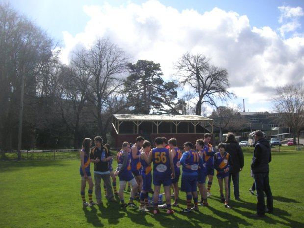 The Williamstown reserves get ready for a big second half.