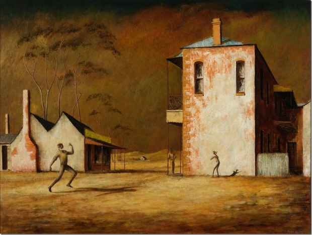 The Cricketers, Russell Drysdale, oil on canvas, 1948