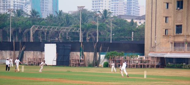Old sightscreens in the background, plus training nets.