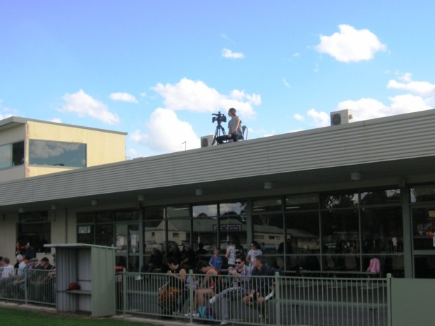 The Red Onion cameraman atop the Eagles' clubrooms.